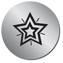 Sheet of 35 Personalised Silver Metallic Star 37mm Stickers