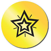 Sheet of 35 Personalised 37mm Stickers with Star in Gold Metallic