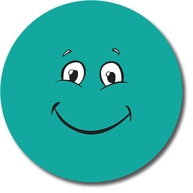 Personalised Teal Face Stickers (35 per sheet - 37mm)