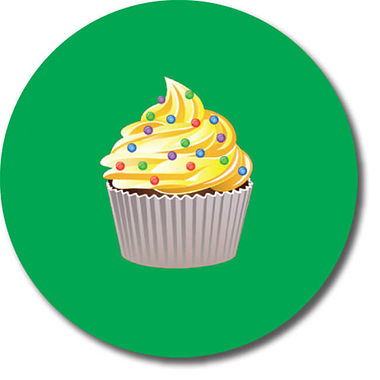 Personalised Cupcake Stickers - Green (35 per sheet - 37mm)