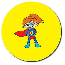 Sheet of 35 Personalised 37mm Super Girl Stickers
