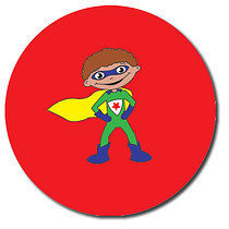 Sheet of 35 Personalised 37mm Super Boy Stickers
