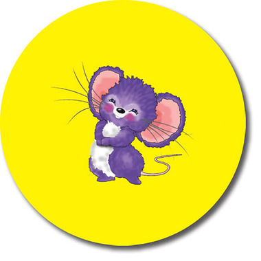 Personalised Mouse Stickers - Yellow (35 per sheet - 37mm)