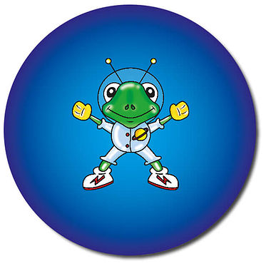 Personalised Spaceman Alien Stickers - Blue (35 per sheet - 37mm)