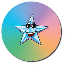 Sheet of 35 Personalised 37mm Multi-Coloured Star Stickers
