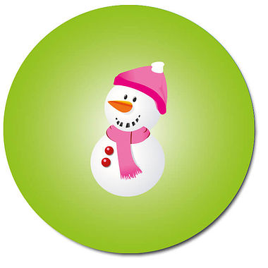 Personalised Snowman Stickers - Green (35 per sheet - 37mm)