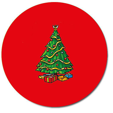 Personalised Traditional Christmas Tree Stickers - Red (35 per sheet - 37mm)