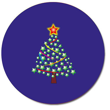 Personalised Christmas Tree Stickers - Blue (35 per sheet - 37mm)