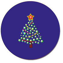 Personalised 37mm Fun Christmas Tree Stickers Blue x 35