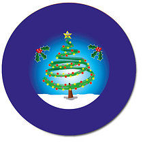 Personalised 37mm Christmas Tree & Snow Stickers x 35