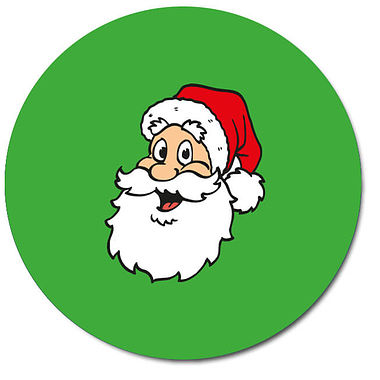 Personalised Santa Stickers - Green (35 per sheet - 37mm)