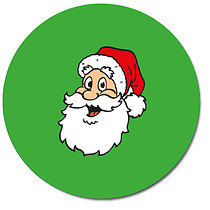 Sheet of 35 Personalised 37mm Green Santa Stickers