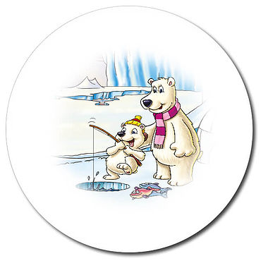 Personalised Polar Bears Stickers (35 per sheet - 37mm)