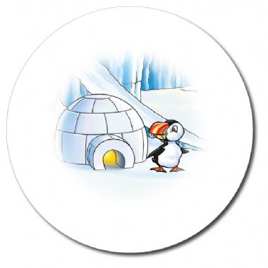 Personalised Puffin & Igloo Stickers (35 per sheet - 37mm)
