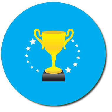 Personalised Trophy Stickers - Blue (35 per sheet - 37mm)