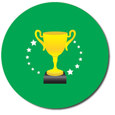 Personalised Trophy Stickers - Green (35 per sheet - 37mm)