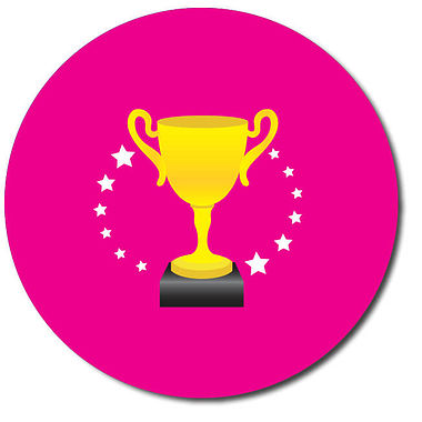 Personalised Trophy Stickers - Pink (35 per sheet - 37mm)