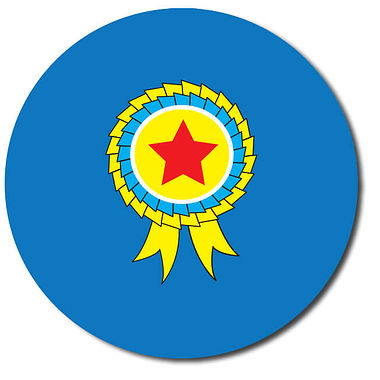 Personalised Rosette Stickers - Blue (35 per sheet - 37mm)