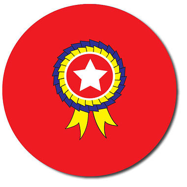 Personalised Rosette Stickers - Red (35 per sheet - 37mm)