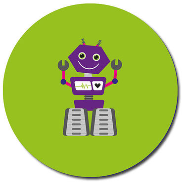 Personalised Robot Stickers - Green (35 per sheet - 37mm)