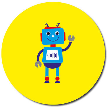 Personalised Robot Stickers - Yellow (35 per sheet - 37mm)
