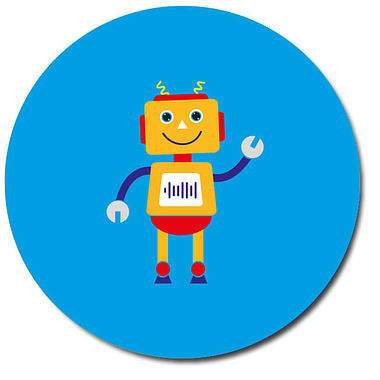 Personalised Robot Stickers - Cyan (35 per sheet - 37mm)