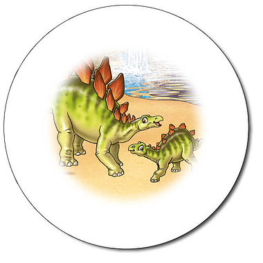 Personalised Stegosaurus Stickers (35 per sheet - 37mm)
