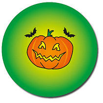Halloween Pumpkin Green Personalised Stickers 35 x 37mm