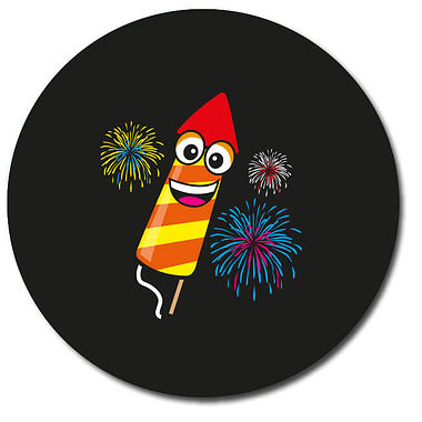 Personalised Rocket Firework Stickers - Black (35 per sheet - 37mm)