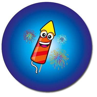 Personalised Rocket Firework Stickers - Blue (35 per sheet - 37mm)