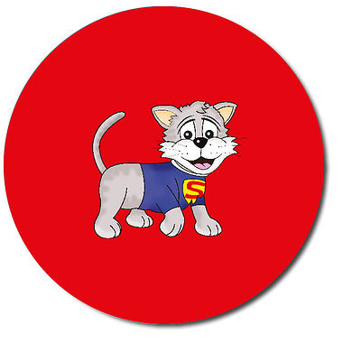 Personalised Superhero Cat Stickers - Red (35 per sheet - 37mm)