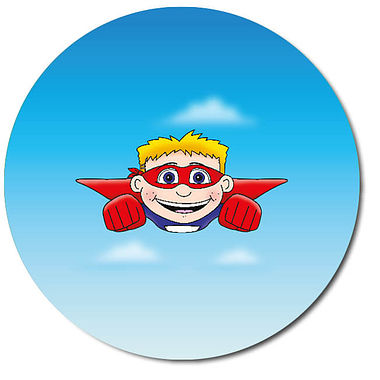 Personalised Superhero Boy Stickers (35 per sheet - 37mm)
