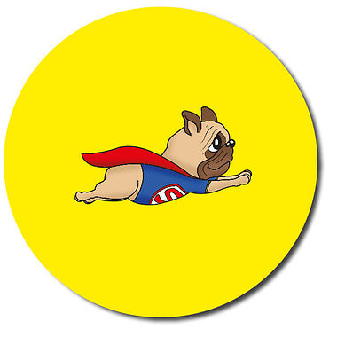 Personalised Superhero Dog Flying Stickers (35 per sheeet - 37mm)