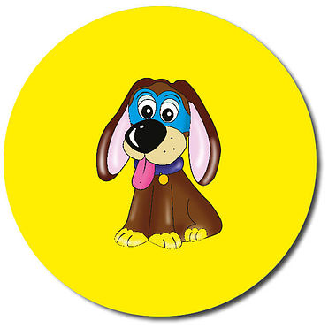 Personalised Superhero Dog Stickers - Yellow (35 per sheet - 37mm)