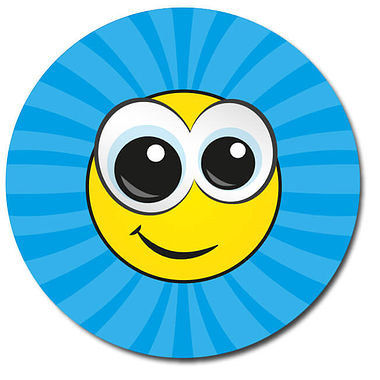 Personalised Smiley Face Stickers - Blue (35 per sheet - 37mm)
