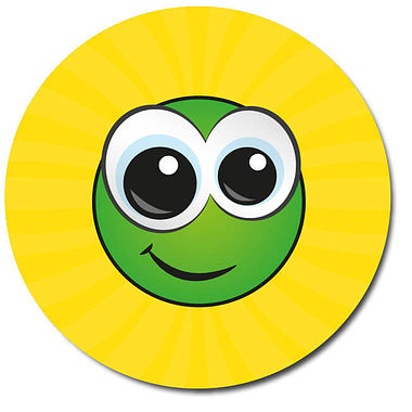Personalised Smiley Face Stickers - Yellow (35 per sheet - 37mm)