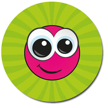 Personalised Smiley Face Stickers - Green (35 per sheet - 37mm)