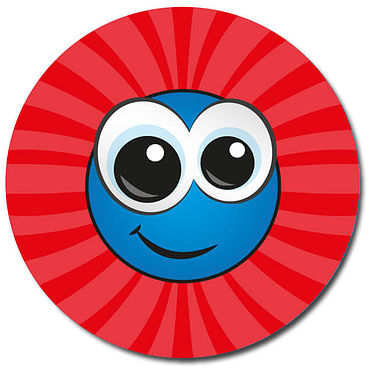Personalised Smiley Face Stickers - Red (35 per sheet - 37mm)