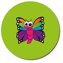 Butterfly Green Personalised Stickers 35 x 37mm