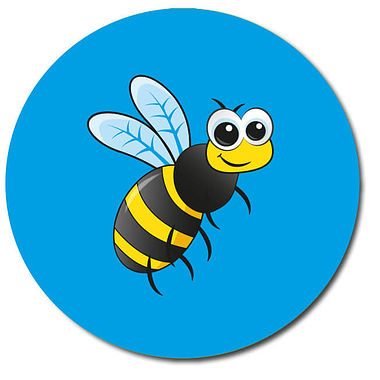 Personalised Bee Stickers (35 per sheet - 37mm)
