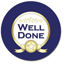 Well Done Blue Personalised Stickers 35 x 37mm