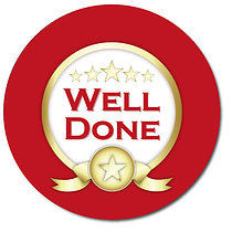 Well Done Red Personalised Stickers 35 x 37mm