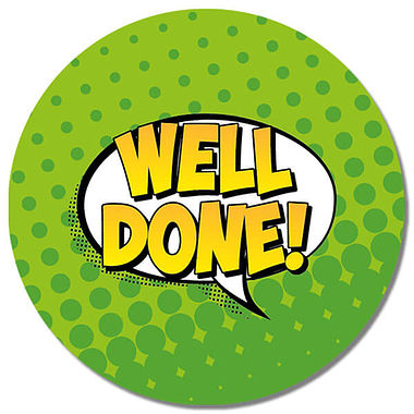 Personalised Well Done Stickers (35 per sheet - 37mm)