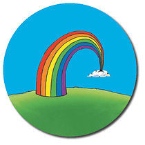 Sheet of 35 Personalised 37mm Rainbow Stickers