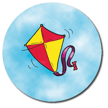 Personalised Kite Stickers (35 per sheet - 37mm)