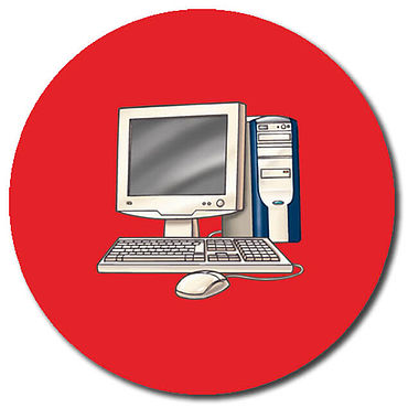 Personalised Computer Stickers - Red (35 per sheet - 37mm)