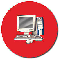 Personalised 37mm Red Computer Stickers x 35
