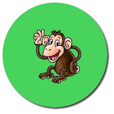 Personalised Chimp Stickers (35 per sheet - 37mm)