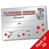 Pack of 20 Platinum Award A5 Certificates