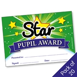 Star Pupil Award Certificates - Green (20 Certificates - A5)